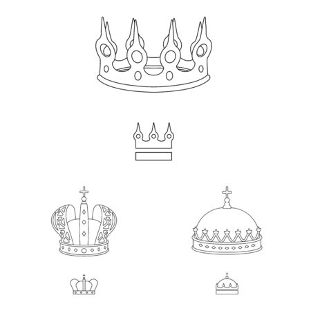 Vector illustration of queen and heraldic icon. Collection of queen and vip stock vector illustration. 일러스트
