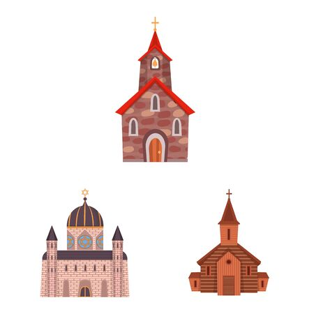 Vector illustration of religion and building logo. Collection of religion and faith stock symbol for web.