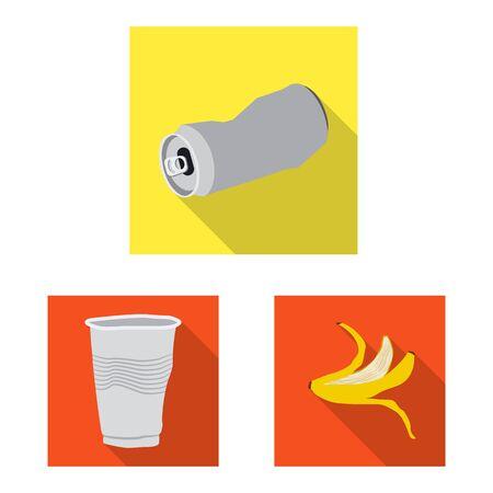 Vector design of refuse and junk symbol. Collection of refuse and waste stock symbol for web. Illusztráció