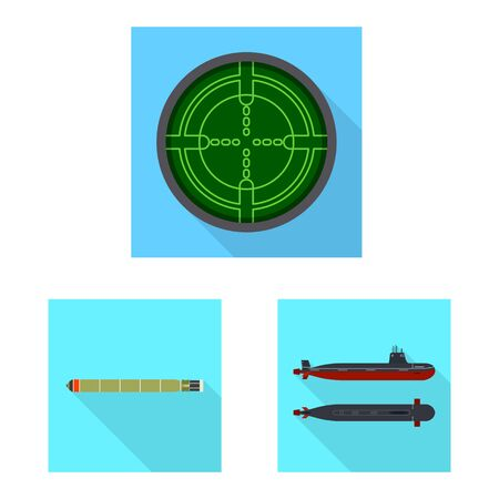 Vector illustration of military and nuclear sign. Set of military and ship vector icon for stock.