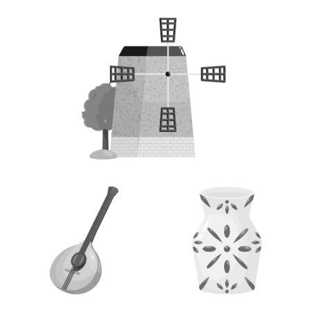 Vector illustration of and traditional symbol. Collection of and historic stock vector illustration. Illusztráció