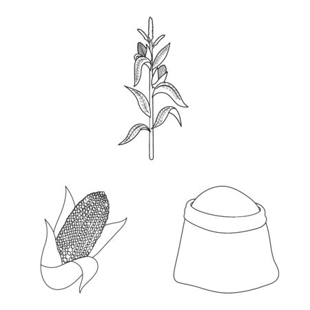 Vector illustration of farm and crop logo. Set of farm and nutrition stock symbol for web. Иллюстрация
