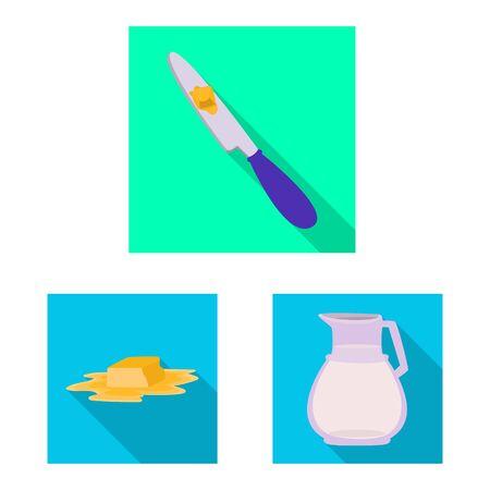 Isolated object of creamy and product logo. Set of creamy and farm stock vector illustration. Illusztráció