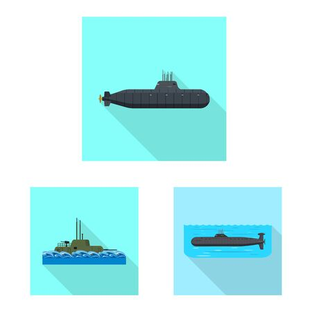 Vector illustration of military and nuclear logo. Collection of military and ship vector icon for stock.