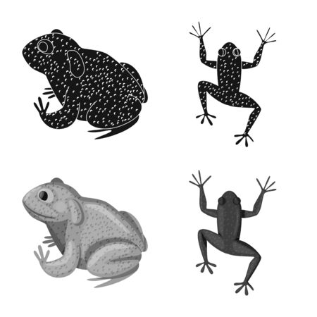 Vector design of wildlife and bog sign. Set of wildlife and reptile stock symbol for web.