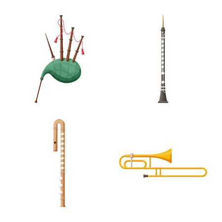 Isolated object of woodwind and instrument symbol. Collection of woodwind and musical vector icon for stock. Ilustração
