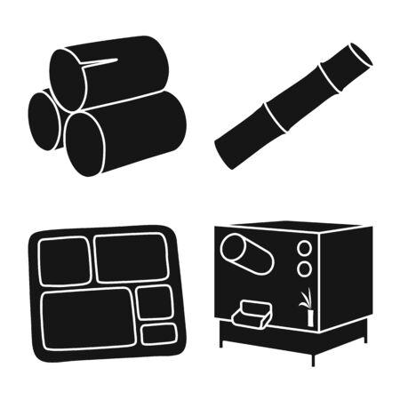 Vector design of agriculture and sweet symbol. Set of agriculture and sugarcane vector icon for stock. Illusztráció
