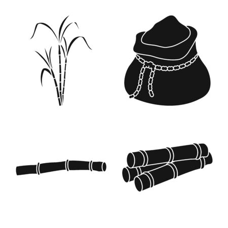 Isolated object of sweet and natural icon. Set of sweet and sugarcane vector icon for stock.