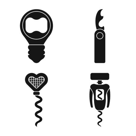 Isolated object of winery and mechanical icon. Collection of winery and corkscrew stock symbol for web.
