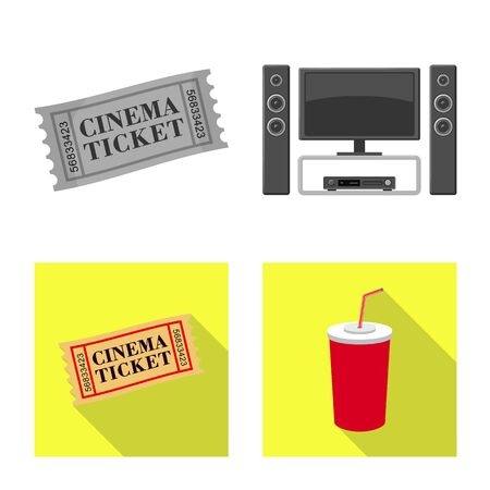 Isolated object of television and filming icon. Collection of television and viewing stock vector illustration.