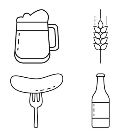 Vector design of craft and pub icon. Set of craft and oktoberfest vector icon for stock.