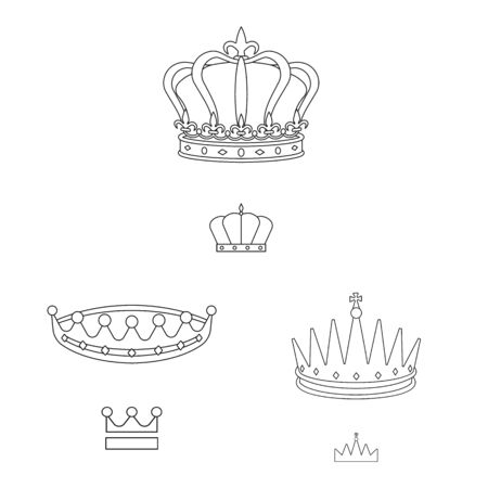 Isolated object of queen and heraldic sign. Collection of queen and vip vector icon for stock.
