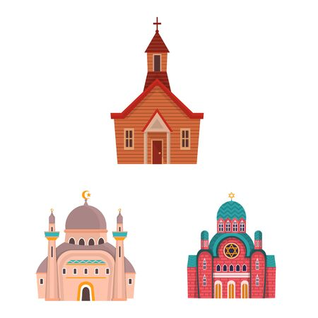 Vector design of religion and building logo. Collection of religion and faith vector icon for stock.