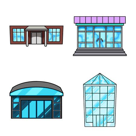 Isolated object of supermarket and building sign. Set of supermarket and city stock vector illustration.