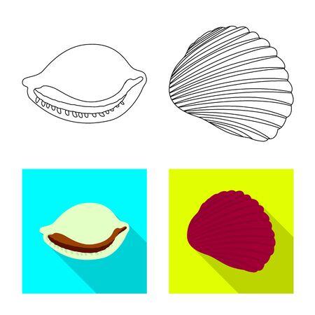 Vector illustration of animal and decoration symbol. Set of animal and ocean stock symbol for web. Ilustração