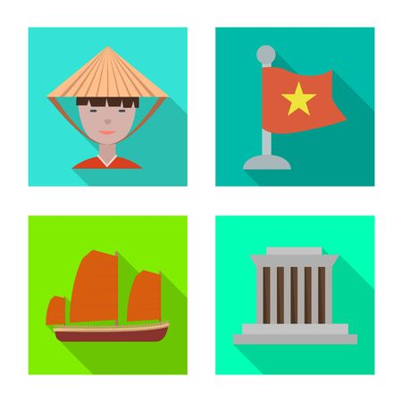 Vector design of vietnam and traditional icon. Set of vietnam and culture vector icon for stock.