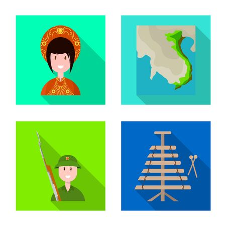 Vector design of travel and country sign. Set of travel and culture vector icon for stock. Illusztráció