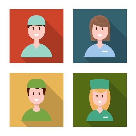 Vector illustration of medical and clinic logo. Set of medical and people stock symbol for web. 일러스트