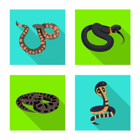 Vector design of snake and creepy sign. Set of snake and wildlife vector icon for stock. Illustration