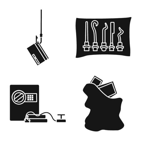 Vector illustration of robber and villain icon. Collection of robber and police vector icon for stock.