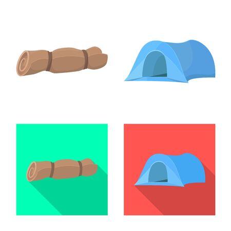 Vector illustration of tourism and excursions symbol. Set of tourism and rest stock vector illustration. Illusztráció