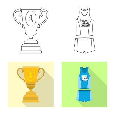 Vector design of sport and winner sign. Set of sport and fitness vector icon for stock. 스톡 콘텐츠 - 131514528