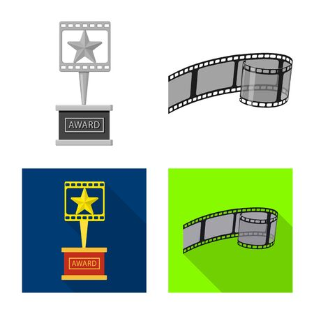 Vector illustration of television and filming sign. Set of television and viewing vector icon for stock. Stock Illustratie