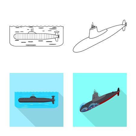 Isolated object of war and ship symbol. Collection of war and fleet stock vector illustration.