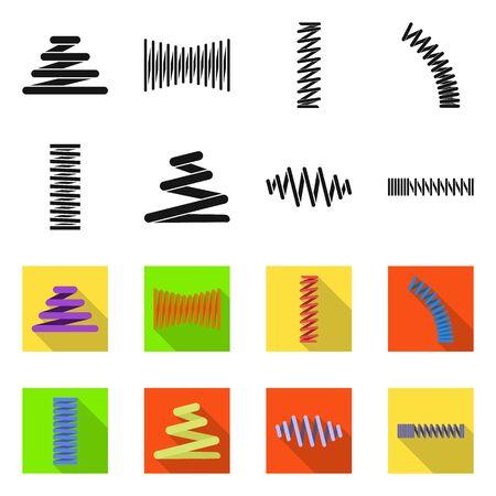 Vector design of spiral and compression symbol. Collection of spiral and pressure stock symbol for web.