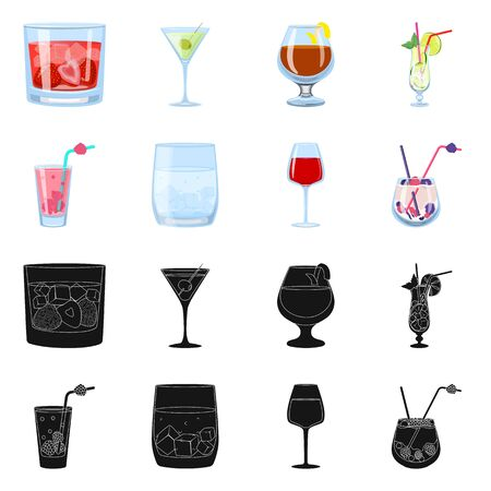 Vector illustration of liquor and restaurant symbol. Collection of liquor and ingredient stock vector illustration. 일러스트