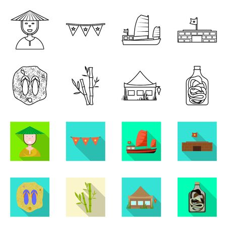 Vector design of vietnam and traditional symbol. Collection of vietnam and culture vector icon for stock. 矢量图像