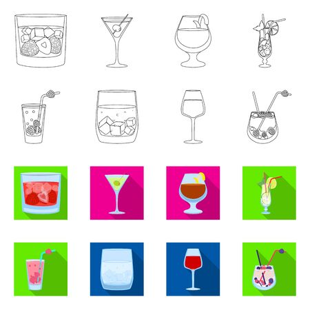 Isolated object of liquor and restaurant icon. Collection of liquor and ingredient vector icon for stock.