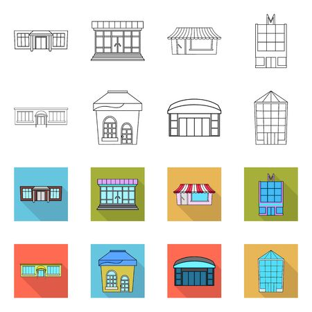 Vector illustration of supermarket and building sign. Set of supermarket and local stock symbol for web. Çizim