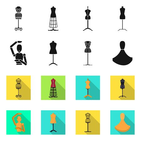 Vector design of mannequin and fashion sign. Set of mannequin and atelier stock symbol for web. Illustration