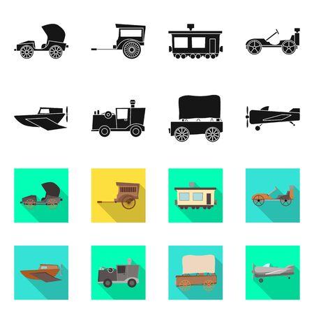 Vector illustration of retro and trip logo. Collection of retro and mechanism stock vector illustration.