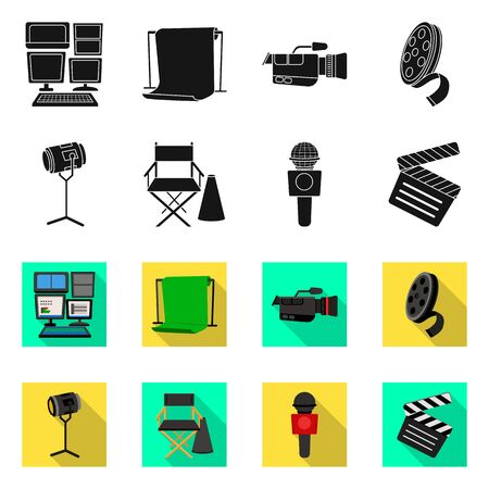 Isolated object of news and studio logo. Set of news and program stock symbol for web. Stock Illustratie