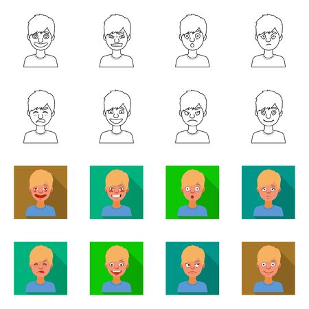 Isolated object of face and boy symbol. Set of face and young vector icon for stock.  イラスト・ベクター素材