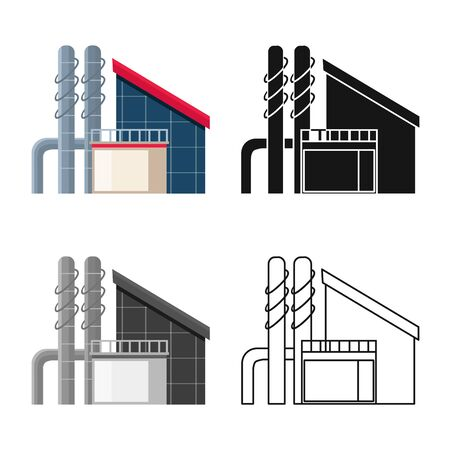Vector illustration of factory and production sign. Set of factory and pipe stock symbol for web. Ilustração