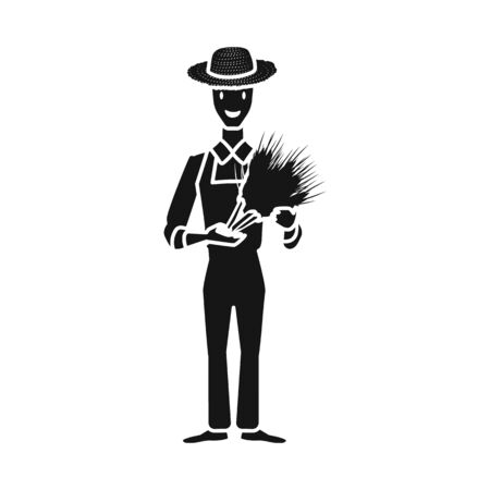 Isolated object of man and farmer symbol. Set of man and rural stock vector illustration.
