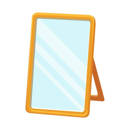 Vector design of mirror and rectangle sign. Graphic of mirror and chrome vector icon for stock.