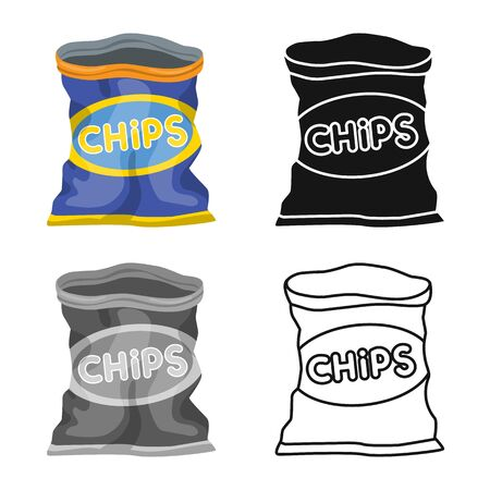 Vector design of package and chip icon. Web element of package and crunchy stock vector illustration.