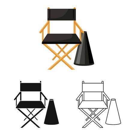 Vector design of studio and chair symbol. Web element of studio and cinema vector icon for stock. Illusztráció