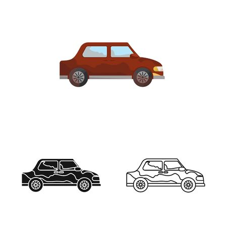 Isolated object of car and vehicle sign. Collection of car and clean stock symbol for web.