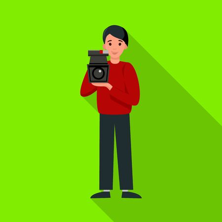 Vector illustration of operator and camera sign. Web element of operator and video stock vector illustration.