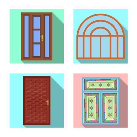 Vector illustration of door and front symbol. Set of door and wooden vector icon for stock. Foto de archivo - 131835609