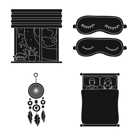 Vector illustration of dreams and night sign. Collection of dreams and bedroom stock vector illustration. Ilustracja