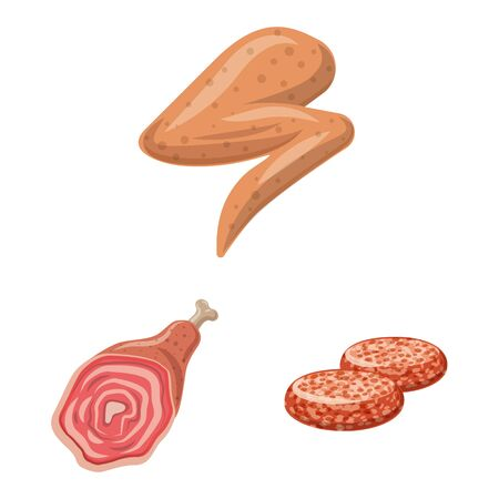 Isolated object of meat and ham symbol. Set of meat and cooking vector icon for stock. Illustration