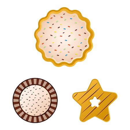 Vector design of biscuit and bake symbol. Set of biscuit and chocolate stock vector illustration. Illusztráció