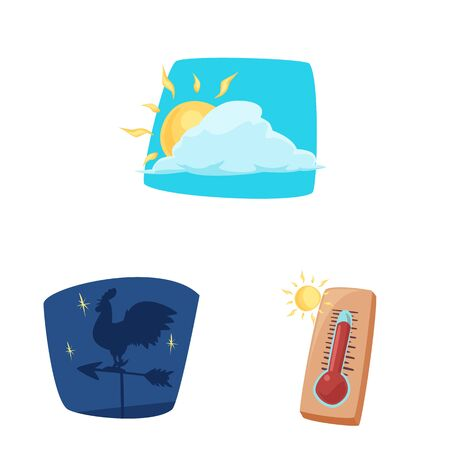 Vector design of weather and climate icon. Set of weather and cloud stock symbol for web.