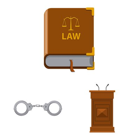 Vector design of law and lawyer symbol. Collection of law and justice vector icon for stock. Illusztráció